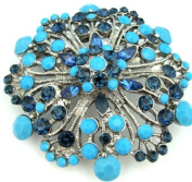 Big Sapphire Blue Crystal & Turquoise 6.4cm Flower Floral Pendant Brooch Pin