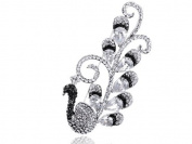 Black White Flourish Tail Mod Peacock. Crystal Rhinestone Pin Brooch