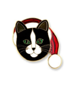 Hand enamelled cat or kitten with a santa hat lapel pin or scatter pin