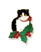Hand enamelled kitten cat and holly lapel pin or scatter pin