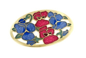 Hand enamelled pansy flower brooch or pin