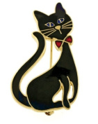 Black cat with bowtie brooch