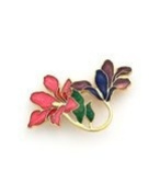 Vitreous hand enamelled art nouveau floral brooch or pin