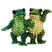 Green Couple Frog Pin. Crystal Animal Pin Brooch