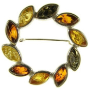 BALTIC AMBER AND STERLING SILVER 925 DESIGNER MULTI-COLOURED FLOWER LEAF BROOCH PIN JEWELLERY jewellery