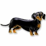 Black & Tan Dachshund Dog Sterling Silver and Enamel Pin by Zarah