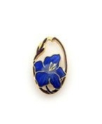 Vitreous hand enamelled lily art nouveau brooch or pin