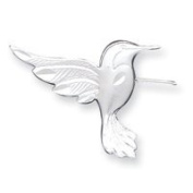 Sterling Silver Satin Finish Diamond-Cut Hummingbird Pin - JewelryWeb