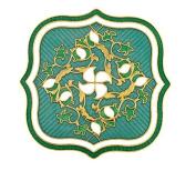 Hand enamelled green quilt brooch