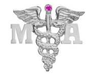 NursingPin - Medical Assistant MA Ruby Lapel Pin in Silver Gifts and Jewellery