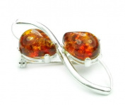 SilverAmber 925 Sterling Silver & Baltic Amber Jewellery - Brooch 4067