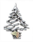 Landstroms Black Hills Gold and Silver Christmas Tree brooch pin - PN415SS