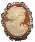 Cameo Pin Pendant Reflection of Youth Master Carved, Conch Shell Italian Sterling Silver Italian