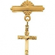 14K Yellow Gold 13.00X10mm Cross With Heart Baptismal Pin