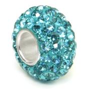 Swaroski Aquamarine Light Blue Crystal Ball Bead Sterling Silver Charm Fits Pandora Chamilia Biagi Trollbeads European Bracelet