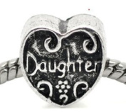 Silver Tone Daughter Bead Charm Spacer Bead Fits European Pandora Troll Other Type Bracelet
