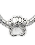 Silver Plated Paw Print Bead Charm Spacer Bead Fits European Pandora Troll Other Type Bracelet