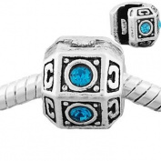 "Antique Silver Pandora Style ""Blue Rhinestone"" Clip Lock Stopper Charm Bead."