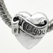 """ I Love You Charm "" Heart Bead Fits Pandora Chamilia Troll Style Bracelet"