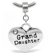 """ Grand Daughter "" 2 Sides Heart Shaped Silver Dangle W/Stone Charm Bead Pandora Troll Chamilia Compatible"