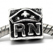 RN (Registered Nurse) Caduceus Charm Bead Fits Pandora Troll Chamilia Biagi Bracelet