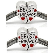 """2 (Two) """" Best Friends with Red Heart """" Charm Fits Pandora Troll Chamilia Biagi Bracelet"""