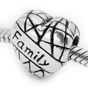 """"""" Family on Heart """" Antique'd Silver Bead Charm Spacer Pandora Troll Chamilia Biagi Bead Compatible"""