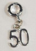Divine Beads Age 50 Silver Plated Dangle Charm Bead fits Pandora, Biagi, Tedora, Chamilia, Bacio, Troll and other European style bracelets