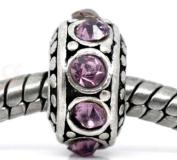 Divine Beads Purple Rhinestone Spacer Charm Bead fits Pandora, Biagi, Tedora, Chamilia, Bacio, Troll and other European style bracelets