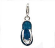 Divine Beads Blue Enamel Beach Sandal / Flip Flop Clip on Charm Bead fits Thomas Sabo and other European style Clip on Charm bracelets