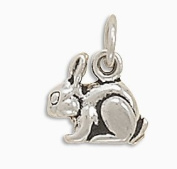 Sterling Silver Charm Pendant Bunny Rabbit 3d