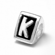 "Letter ""K"" Alphabet Charm By Olympia - Compatible with Pandora & Troll Bracelets"