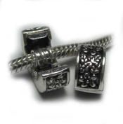 """2(two) Clip Lock Bead """"Floral Ivy"""" Fits Pandora Style Bracelets European Charm Bead Bracelets + 2 Clear Silicone Stopper Ring"""