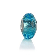 Bling Jewellery Turquoise Colour Sterling Silver Faceted Crystal Glass Bead.