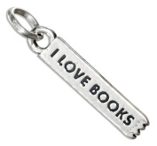 "Sterling Silver ""I Love Books"" Bookmark Charm"
