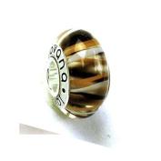 Murano Glass Tiger Stripe Design Pandora Type Charm Bead on Sterling Silver Whole Core , Fits Pandora, Jovana Bracelet