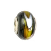 IMPPAC black, yellow and white Murano Style Glass Bead, Mystic, 925 Sterling Silver, fits European Charms Bracelets SMB8069