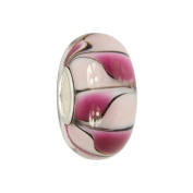 IMPPAC pink and white Murano Style Glass Bead, Dream, 925 Sterling Silver, fits European Charms Bracelets SMB8109