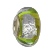 IMPPAC green Silverline Murano Style Glass Bead, Apple, 925 Sterling Silver, fits European Charms Bracelets SMB8014