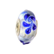 IMPPAC white and blue Murano Style Glass Bead, Flower, 925 Sterling Silver, fits European Charms Bracelets SMB8046