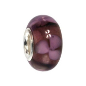 IMPPAC purple Floret Murano Style Glass Bead, 925 Sterling Silver, fits European Charms Bracelets SMB8093