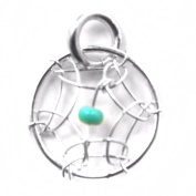Dream Catcher Turquoise and Sterling Silver Very Small Charm 10mm