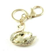 Sommet Gold Tone Rhinestone Swan Design Hook Clip Keychain Keyring Charm
