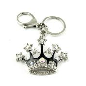 Sommet Silver Tone Rhinestone Black Crown Design Hook Clip Keychain Keyring Charm