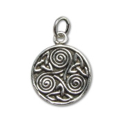 Celtic Trinity Knot Spiral Triskelion Sterling Silver Charm