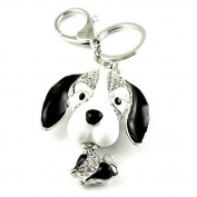 Sommet Silver Tone Rhinestone Puppy Dog Design Hook Clip Keychain Keyring Charm