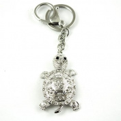 Sommet Silver Tone Rhinestone Turtle Design Hook Clip Keychain Keyring Charm
