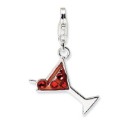 Sterling Silver Crystal Martini Glass W/Lobster Clasp Charm