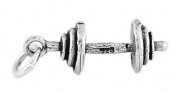 Sterling Silver Small Three Dimensional Cap Barbell Weights Charm