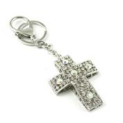 Sommet Silver Tone Rhinestone Cross Design Hook Clip Keychain Keyring Charm